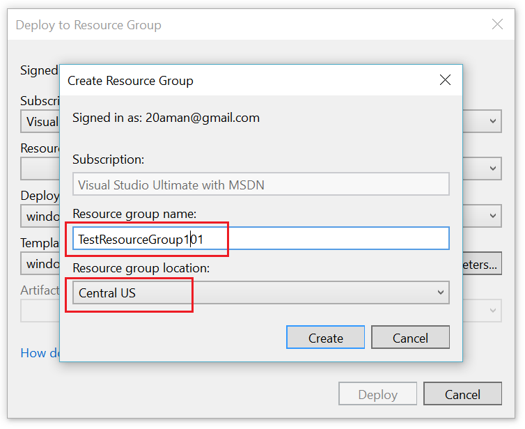 Resource Group creation additional Popup