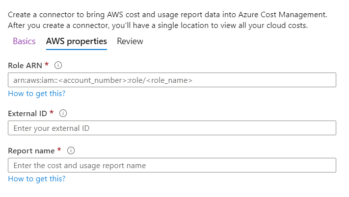 Creating Connector - AWS Properties
